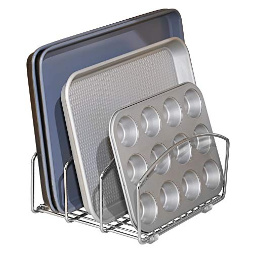 mDesign Metal Wire Cookware Organizer Rack for Kitchen Cabinet, Pantry and Shelves - Organizer Holder with Three Slots for Cookie Trays, Muffin Tins, Bread Pans, Cutting Boards - Chrome