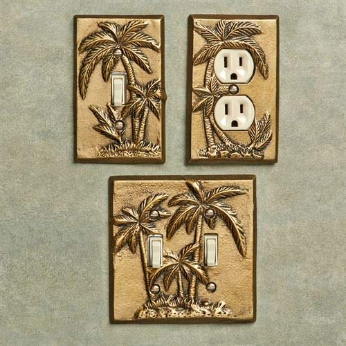 Gold Double Palm Trees - Palm Tree Single Switch Antique Brass