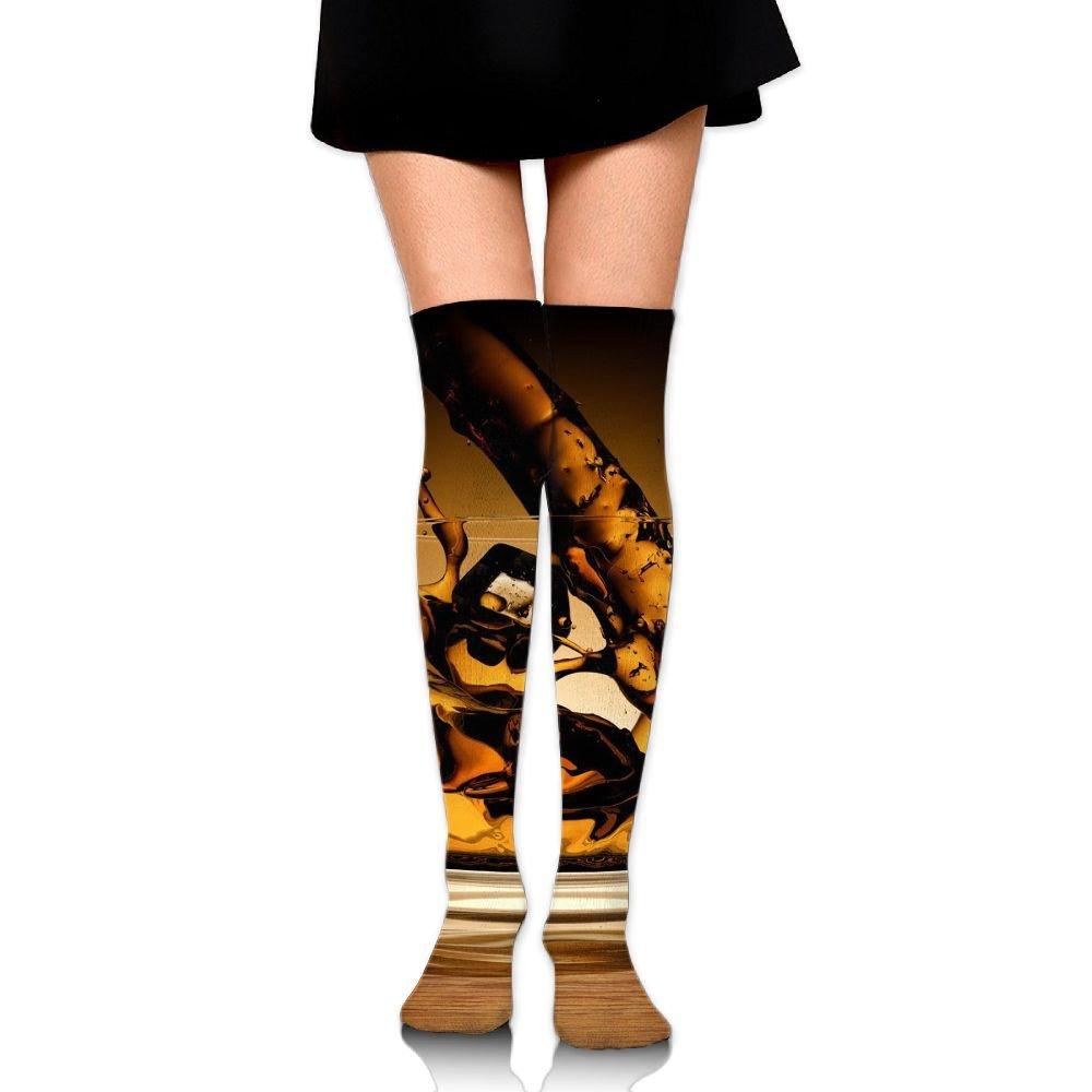 Wine In Glass Art Over The Knee Long Socks Tube Thigh-High Sock Stockings For Girls & Womens