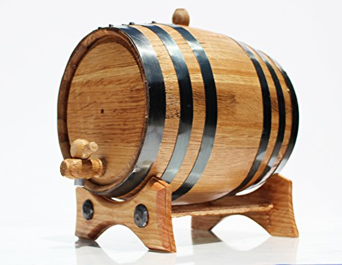 3 Liter Whiskey Oak Barrel for Aging – Golden Oak Barrel with Black Steel Hoops – Aging and Recipes Digital Guide included