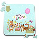 Uta Naumann Sayings and Typography - Cute Baby Safari Wild Animals Typography On Blue Polkadots -Lets Party - 10x10 Inch Puzzle (pzl_275539_2)