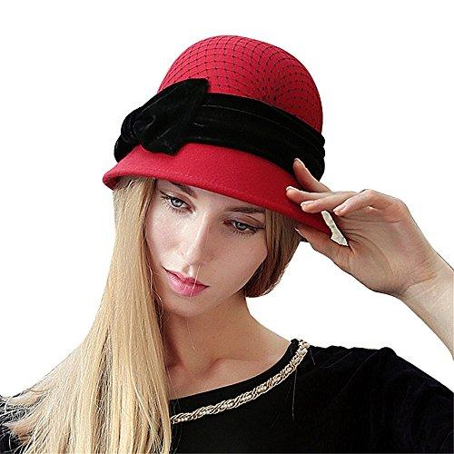 (Women's 100% Wool Cloche Bucket Hat with Velvet Bow)