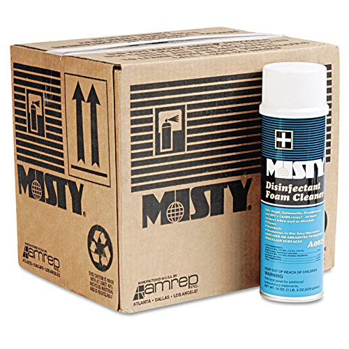 Misty 1001907 Disinfectant Foam Cleaner, Fresh Scent, 19oz Aerosol, 12/carton