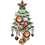 Ritzy Couture Dangling Ornament Charm Merry Christmas Enamel (Goldtone) Pendant Jewelry Women's Thanksgiving Gift or Girls Christmas Tree Costume
