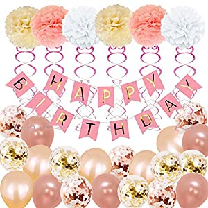 Best Epic Trends 51kp%2B3UMUGL._SS300_ Birthday Decorations, Birthday Party Supplies for girl and women include 52Pcs Banners Rose Gold Balloons for 18th 19th…
