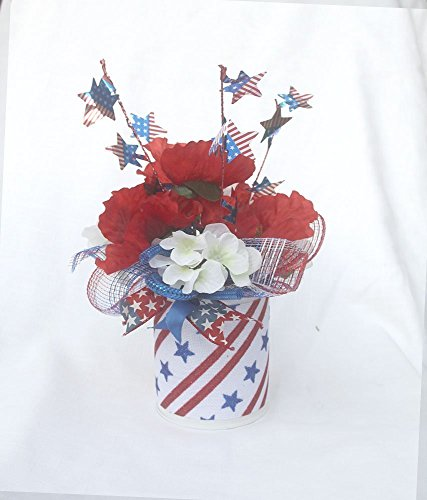(Patriotic floral arrangement, July 4th table Centerpiece, red white blue silk flowers, memorial day)