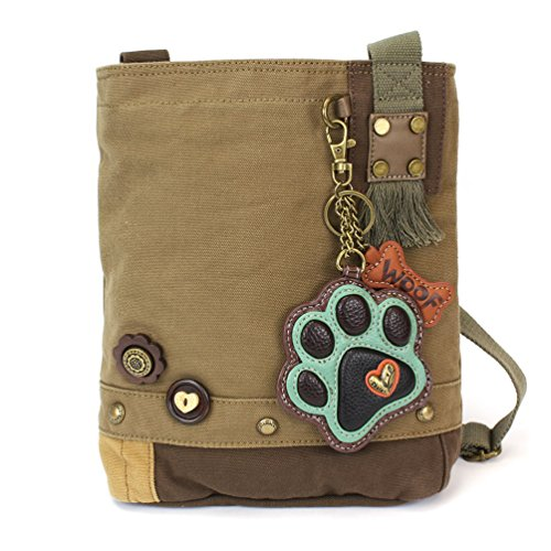 (Chala Patch Cross-Body Women Handbag, Canvas Messenger Bag - Teal Paw Print Olive)