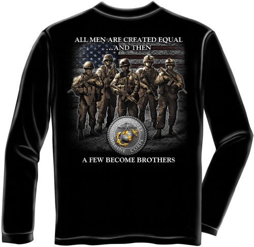 US Marine Corps Long Sleeve T-Shirts, 100% Cotton Casual Mens Shirts, Show Your Pride With Our Brotherhood Marine Corps Unisex Long Sleeve Shirts for Men or Women (Black, X-Large)