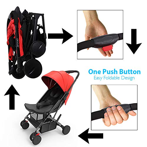 Portable Folding Baby Travel Stroller - Upgraded Lightweight Foldable Compact Stroller w/Adjustable Reclining Seat, Foot-Activated Brake, Locking Front Wheels, Retractable Canopy - Jovial by Jovial (Image #10)