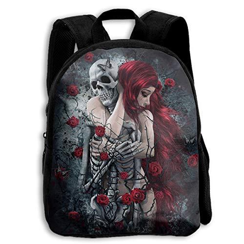 School 3D Printed Red Haired Woman Hug Skull Skeleton Shoulder Backpacks Student Travel Laptop Book Bag for Students