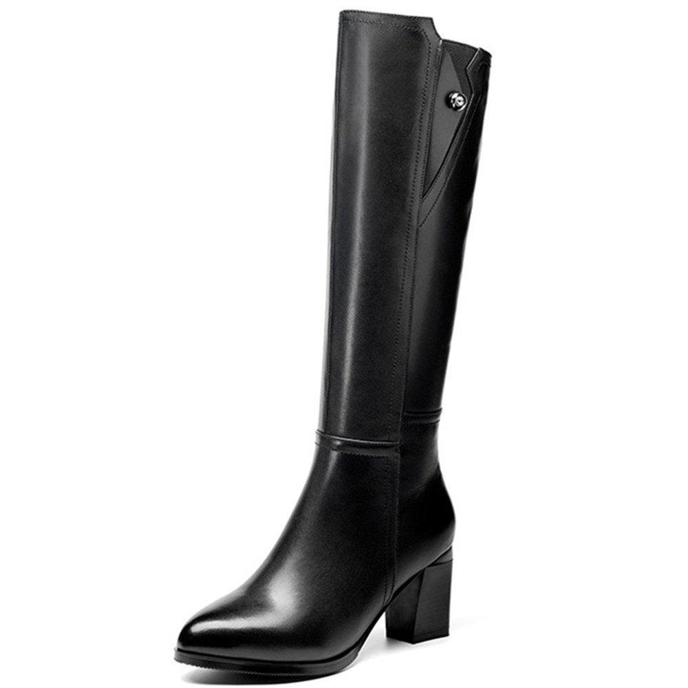 Nine Seven Genuine Leather Women's Pointed Toe Chunky Heel Comfort Handmade Casual Mid Calf Boots (7, Black)