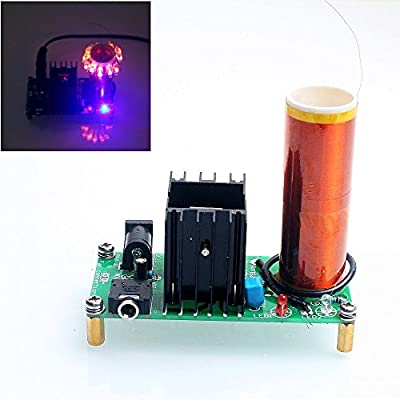 DIKAVS DIY Mini Tesla Coil Kit 15W Mini Music Tesla Coil Plasma Speaker Tesla Wireless Transmission DC 15-24v