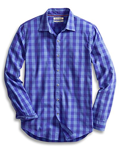 Goodthreads Men's Slim-Fit Long-Sleeve Gingham Plaid Poplin Shirt, Blue/Purple, Small