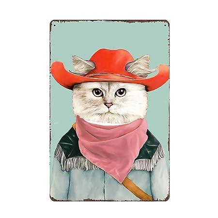 Kentop - Cartel de metal para puerta, diseño de gato: Amazon ...