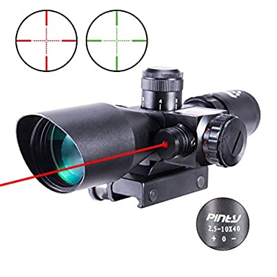 Pinty 2.5-10x40 AOEG Red Green Illuminated Mil-dot Tactical Rifle Scope with Red Laser Combo - Green Lens Color