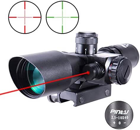 Pinty 2.5-10x40 AOEG Red Green Illuminated Mil-dot Rifle Scope with Red Laser Combo - Green Lens Color