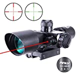 Pinty 2.5-10x40 AOEG Red Green Illuminated Mil-dot Tactical Rifle Scope with Red Laser