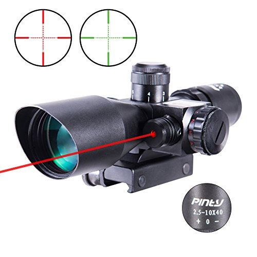 Airsoft Sniper Scope - Pinty 2.5-10x40 AOEG Red Green Illuminated Mil-dot Tactical Rifle Scope with Red Laser Combo - Green Lens Color