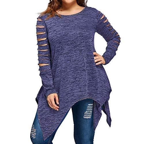 womens tops,Kulywon Womens Long Sleeve Plus Size Fashion Blouse T-Shirt Blouse Tank Tops(XXL/US 16,Blue) (Cap Sleeve T-shirt Womens Mexico)
