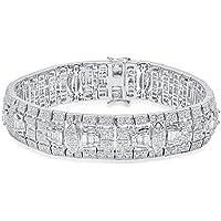 Dazzlingrock Collection 5.83 Carat (Ctw) 14K White Gold Round White Diamond Mens Link Bracelet