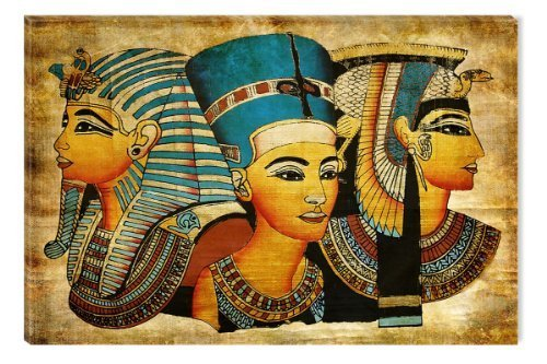 Startonight Canvas Wall Art Egyptian Goddesses, African Glow in the Dark, Dual View Surprise Artwork Modern Framed Ready to Hang Wall Art 100% Original Art Painting 80 x 120 cm