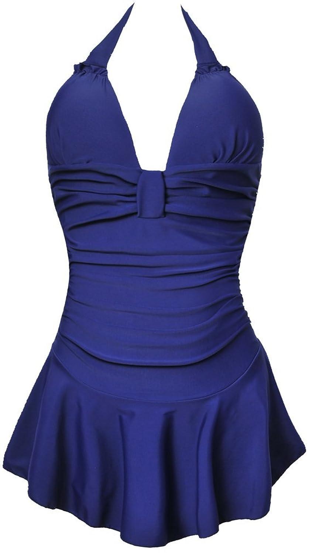 TDOLAH Damen Retro Vintage Einteiliger Badekleid V Ausschnitt Badeanzug mit Röckchen