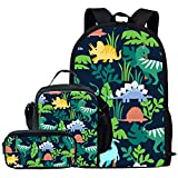 FUIBENG Student' s Backpack Dinosaurs Stegosaurus Plant Prints Pencil Box and Lunch Bag Coins Purse Bags