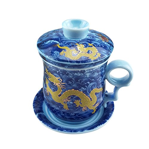 ufengke Oriental Modern Bone China Ceramic Tea Cup With Lid And Saucer, Birthday Present Cup, Hand Painted Yellow Gold Dragon, Yellow And (Yellow Hand Painted Clay)