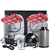 Oppolite Indoor Grow Tent Kit Complete Package 2XLED 1200W COB Grow Light Kit +8' Fan Filter Combo+ 96'X48'X80' 600D Grow Tent Hydroponics Growing System (2x LED1200W+96'X48'X80'+8'Ventilation Kit)