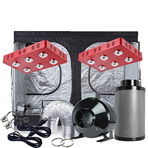 Oppolite Indoor Grow Tent Kit Complete Package 2XLED 1200W COB Grow Light Kit +8