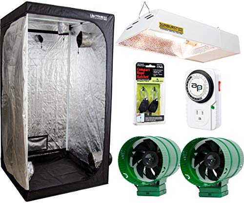 Lighthouse Systems - Hydrofarm All-in-One Indoor Tent Grow System, Including Lighthouse 2.0 Controlled Environment 4' x 4' Grow Tent, 315Watt Sunburst CMh 3100K Light System, 2 Active Air Fans and Digital Timer