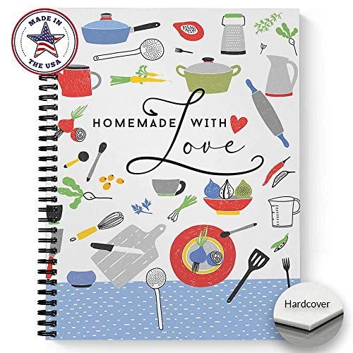 """Hardcover Homemade With Love 8.5"""" x 11"""" Spiral Recipe Notebook/Journal, 120 Recipe Pages, Soft Touch Matte Laminated Cover, Black Wire-o Spiral. Made in the USA"""