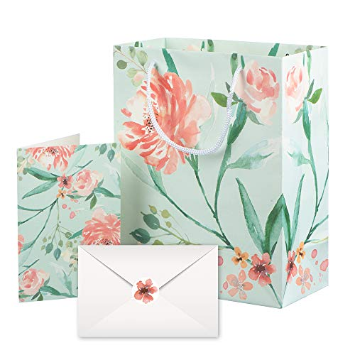 - Gift Bags - 10 Floral Sets with Matching Cards for Birthday Party Present, Wedding, All Occasion
