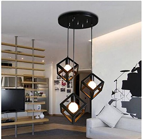 FAYM-Kreative einfache Esszimmer Wohnzimmer Eisen quadratisch dreieckig hängend Lampe 3 head disk   square