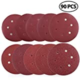 Sanding Disc, 40 60 80 100 120 180 240 320 400 800 Grit Sandpaper Assortment - LotFancy Hook and Loop 6-Inch 6-Hole Orbit Sander Round Paper, Pack of 90
