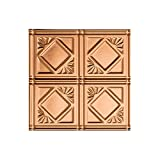 FASÄDE Easy Installation Traditional Style/Pattern #4 Polished Copper Glue Up Ceiling Tile/Ceiling Panel