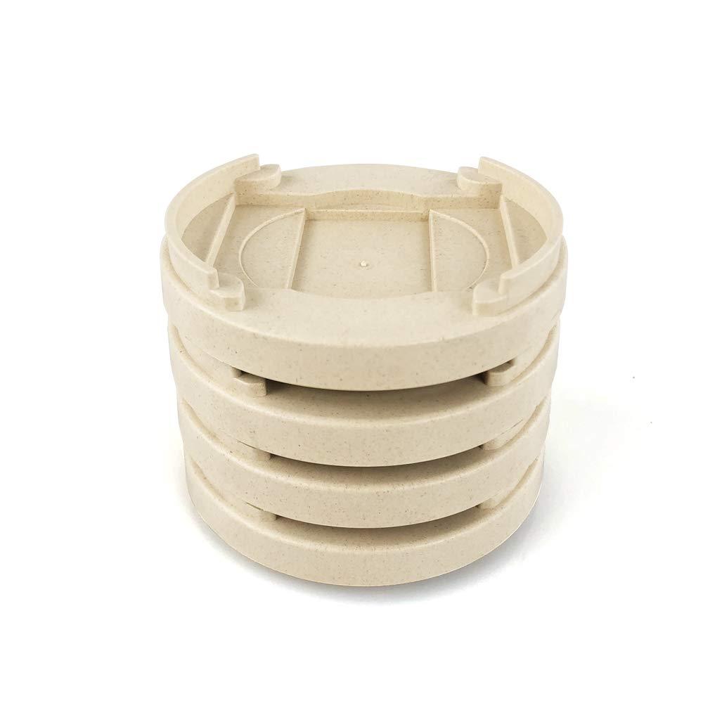 MIIX HOME / Bamboo Fiber Furniture Wheel Gripper Caster Cups, Furniture wheel stopper, Set of 4PCS Beige