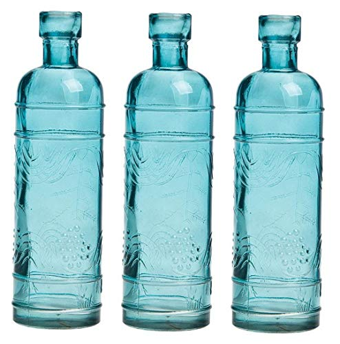 - Gatton Small Vintage Glass Bottle Set (6.5-Inch, Mabel Round Design, Turquoise Blue, Set of 3) - Flower Bud Vase Set - for Home Decor and ding Centerpieces | Model WDDNG - 2606 |