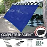 Cheap 10′ x 16′ RV Awning Shade (Blue) Complete Kit with Carry Bag Canopy Shelter Screen Panel and Awning Maintenance Manual Motor Home Trailer Awning Shade