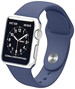 Apple Watch Band, Soft Silicone Sports Replacement Wristband for Apple Watch (Midnight blue, 38mm-M/L)