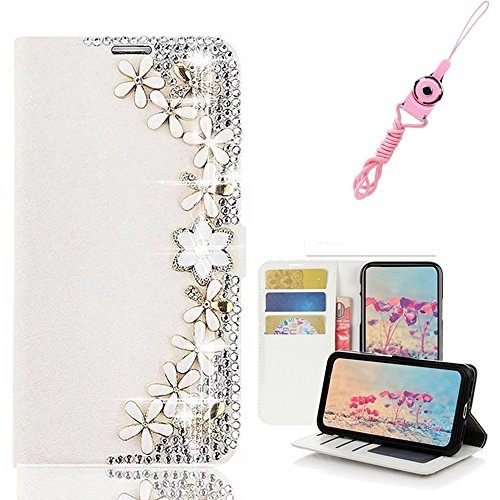 EVTECH LG Stylo 3 Case with Lanyard Neck Strap, [Stand Feature] Butterfly Crystal Wallet Case Premium [Bling Luxury] PU Leather Flip Cover [Card Slots] For LG Stylo 3 Plus by EVTECH