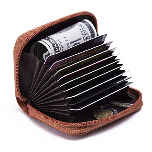 KQueenStar RFID cartera protector de cuero genuino para los hombres y las mujeres (café1) marrón