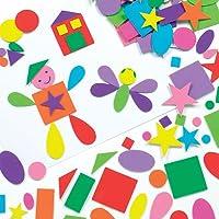 Baker Ross Forme Autoadesive in Schiuma per Bambini Ideali per Decorare e Personalizzare Bigliettini, Creazioni Fai Da Te e Collage (confezione da 180)