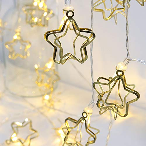 CTSKHKX Star String Lights, 10FT / 3M 20 LED Fairy String Lights,USB/Battery Powered for Halloween Christmas Valentine Home Wedding Party Bedroom Living Room Birthday Decoration (Warm White) (USB)