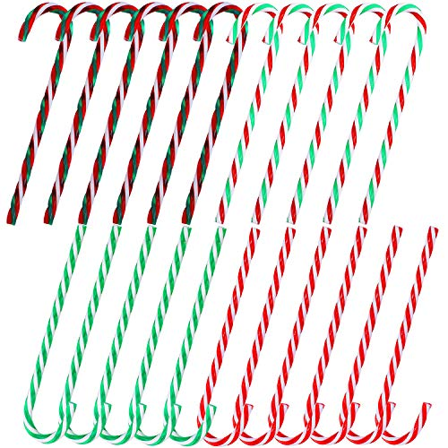 Aneco 40 Pieces Christmas Plastic Candy Canes Twisted Toy Crutch Christmas Tree Hanging Ornaments for Holiday Party Decoration Favors, 4 Color