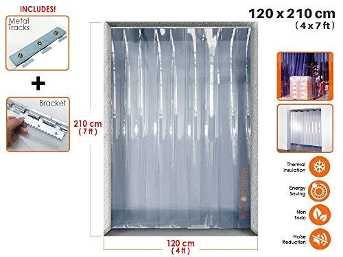 Acepunch PVC Plastic Strip Curtain 120cm x 210cm (4 x 7 ft.) Set for Walk in Freezers, Warehouse Doors and Clean Rooms AP1173 ()