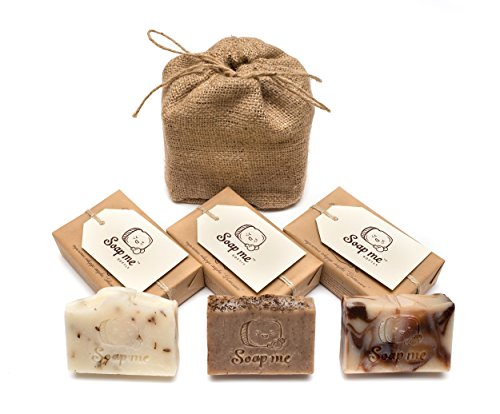 Anti Ageing Gift (Handmade Soap Gift Set – All Natural - Anti-ageing - Vegan - 3 Full Size Bars 3,5 0z each (Chocolate & Coffee & Marseille) Comes Wrapped in a Jute Drawstring Bag)