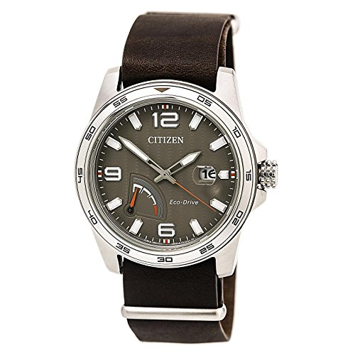 (Citizen Men's Eco-Drive Stainless Steel Citizen Leather Strap Watch)