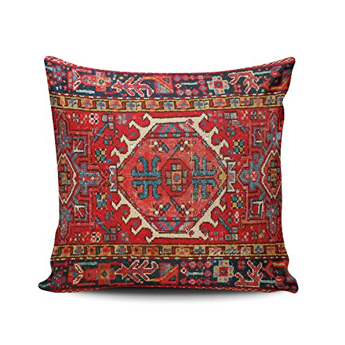 Turkish Designs Carpet (Hoooottle Custom Beauty Design Colorful Antique Oriental Turkish Carpet Square Pillowcase Zippered One Side Printed 16x16 Inches Throw Pillow Case Cushion Cover)