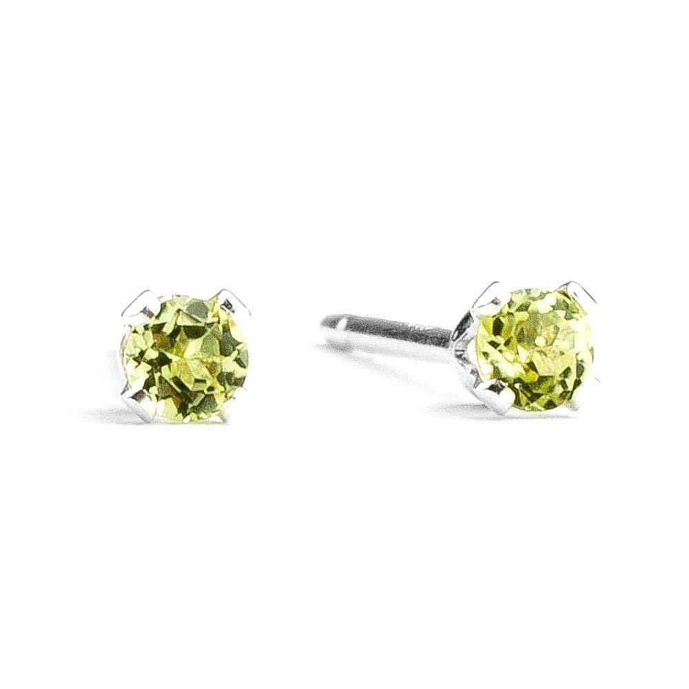 3mm Tiny Lime Green Peridot Gemstone Post Stud Earrings in Sterling Silver - August Birthstone